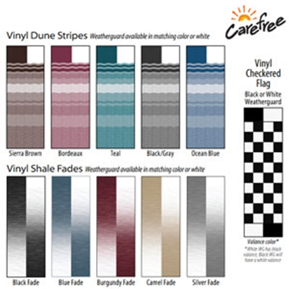 Picture of Carefree  12' w/ 8' Ext Wht/Wht Teal Denim Stripe Vinyl Patio Awning QJ128C00 00-0704