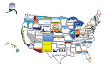 Picture of State Stickers  State Sticker Map STATESTICKERMAP 03-0127