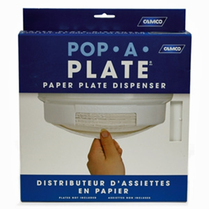 Picture of Camco Pop-A-Plate White Pop-A-Plate Paper Plate Dispenser 57001 03-0757