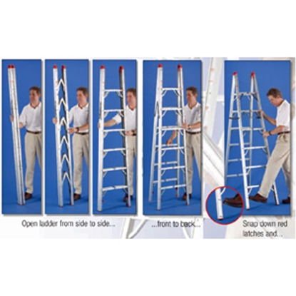Picture of GP Logistics  7' Clear Anodized Aluminum Folding Step Ladder SLD-D7 03-0886