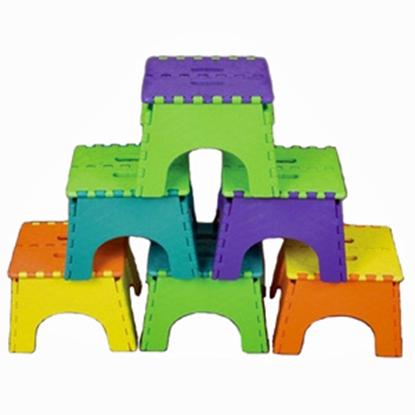 "Picture of B&R Plastics E-Z FOLDZ 6-Pack 9""H Two Tone Assorted Plastic Folding Step Stool 101-6TT 03-0957"