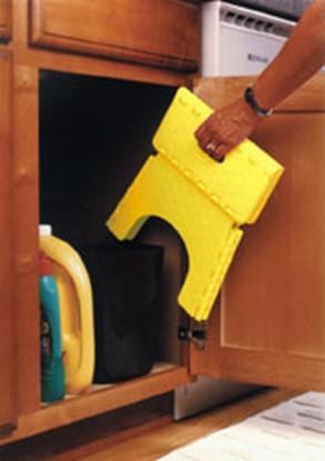 "Picture of B&R Plastics E-Z FOLDZ 9""H Yellow Plastic Folding Step Stool 101-6Y 03-0968"