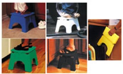 "Picture of B&R Plastics E-Z FOLDZ 9""H Sapphire Blue Plastic Folding Step Stool 101-6SB 03-0974"