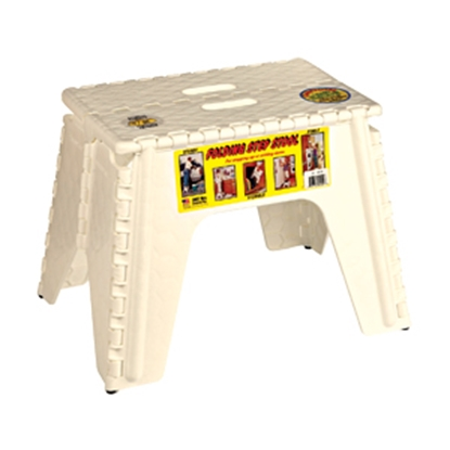 "Picture of B&R Plastics E-Z FOLDZ 12""H Beige Plastic Folding Step Stool 103-6BG 03-1003"