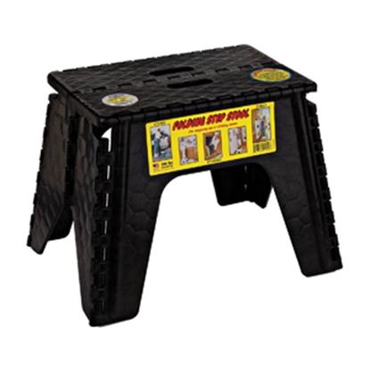 "Picture of B&R Plastics E-Z FOLDZ 12""H Black Plastic Folding Step Stool 103-6BK 03-1215"