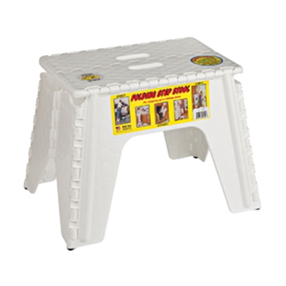 "Picture of B&R Plastics E-Z FOLDZ 12""H White Plastic Folding Step Stool 103-6WH 03-1216"