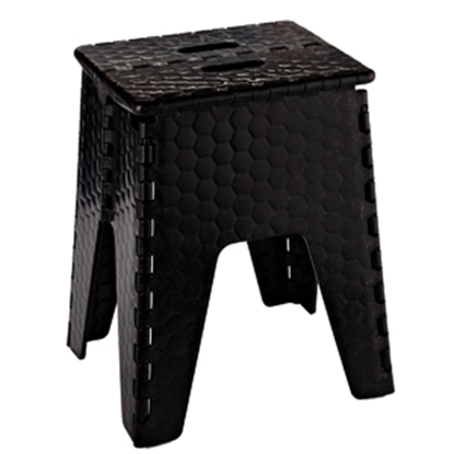 "Picture of B&R Plastics E-Z FOLDZ 15""H Black Plastic Folding Step Stool 152-6BK 03-1217"