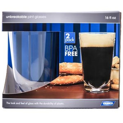 Picture of Camco  2-Pack PolyCarbonate 16 oz Pint Glasses 43865 03-1957