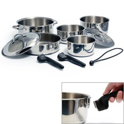 Picture of Camco  10-Piece Stainless Steel Nesting Cookware Set 43921 03-1959