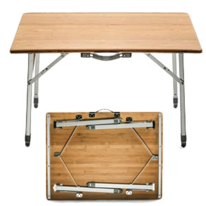 """Picture of Camco  31.4""""L x 23.6""""W x 18-26""""H Folding Bamboo Table 51893 03-7268"""