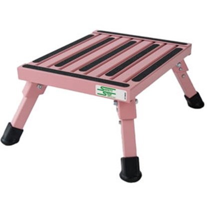 "Picture of Safety Step  7""H Pink Aluminum Folding Step Stool S-07C-P 04-0166"