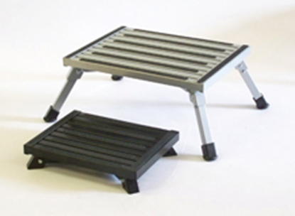 "Picture of Safety Step  8""H Black Aluminum Folding Step Stool F-08C-BLK 04-0207"