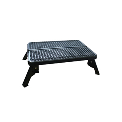 "Picture of Stromberg Carlson  4-1/2 to 8-1/4""H Adjustable Black Aluminum Folding Step Stool P-102 04-0209"