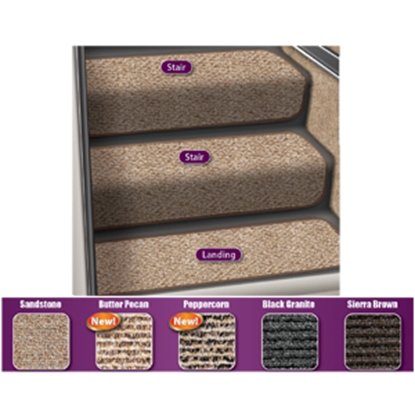 "Picture of Prest-o-Fit Step Huggers (R) 23-1/2""L x 13-1/2""W Peppercorn Step Rug for Stair Steps 5-0073 04-0431"