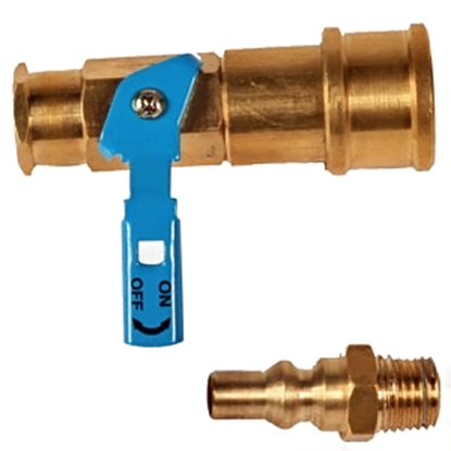 "Picture of Camco  1/4"" FNPT x Female QC Brass LP Hose Connector w/ Shut Off Valve 59853 06-0469"