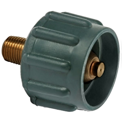 "Picture of Camco  Green ACME Nut x 1/4"" NPT Brass LP Hose Connector 59923 06-0479"