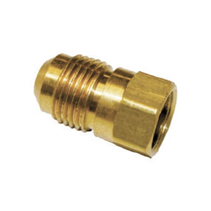 "Picture of Anderson Metal LF 7406 Series 3/8"" OD Tube 45 Deg SAE Flare x 3/8"" FPT Brass Fresh Water Straight Fitting 704046-0606 06-1247"