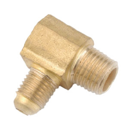 "Picture of Anderson Metal LF 7500 Series 3/8"" OD Tube 45 Deg SAE Flare x 1/2"" FPT Brass Fresh Water 90 Deg Elbow 704050-0608 06-1289"