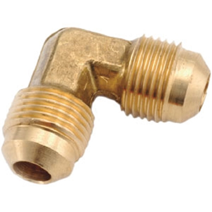 "Picture of Anderson Metal LF 7505 Series 3/8"" OD Tube 45 Deg SAE Flare Brass Fresh Water 90 Deg Elbow 704055-06 06-1297"