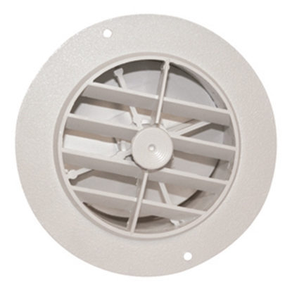 "Picture of D&W INC.  White 4"" Round 360 Deg Rotation Ceiling Heating/ Cooling Register w/Damper 3840RWH 08-0228"