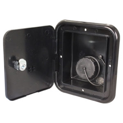 "Picture of JR Products  Black 4-3/4""RO Lockable Water Hatch Access Door w/Tank Vent Connection JFE13-A 10-0036"