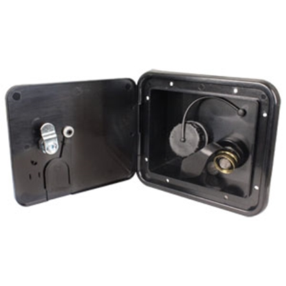 "Picture of JR Products  Black 5-7/8""RO Lockable Water Hatch Access Door w/Tank Vent Connection K7113-6-A 10-0037"