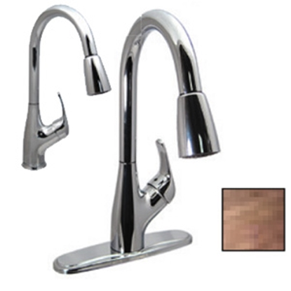 "Picture of Phoenix Faucets  Bronze w/Single Lever 8"" Kitchen Faucet w/Pull-Out Spout PF231561 10-0222"