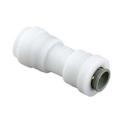 "Picture of Sea Tech 24 Series 1/2"" Female QC Copper Tube x 3/8"" Female QC Copper Tube White Plastic Fresh Water Straight Fitting 012416-"
