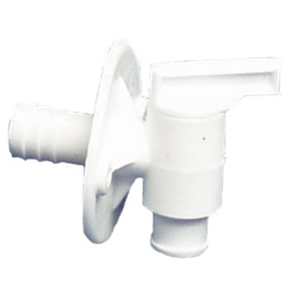 "Picture of Petersen Molding  Artic White Plastic 1/2"" Barb Fresh Water Tank Drain Valve w/Flange 18-958 A/W 10-0441"
