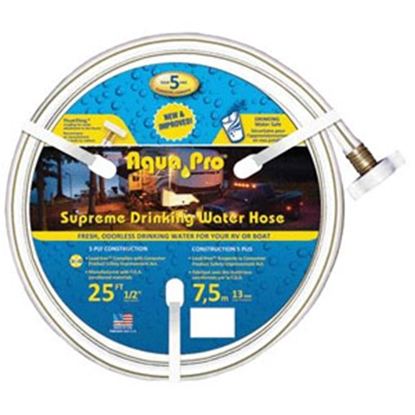 "Picture of Aqua Pro Supreme 1/2""x25' Fresh Water Hose w/ThumThing Coupling 20863 10-0634"