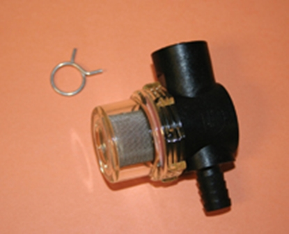 "Picture of SHURflo  1/2"" Hose Barb x 1/2"" Female Swivel Fresh Water Pump Strainer For Shurflo 255-323 10-0697"