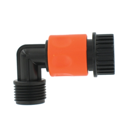 Picture of Valterra  Plastic QC Fresh Water Hose Connector For Std GHF Coupling w/90 Deg Hose Saver A01-0137VP 10-0780