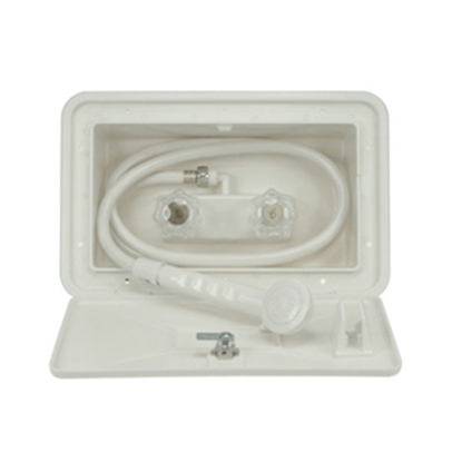 Picture of Dura Faucet  White Lockable Exterior Shower Box Kit w/ Acrylic Knobs DF-SA170-WT 10-0844