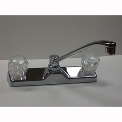 """Picture of Utopia  Chrome w/2 Clear Knob Swing 8"""" Kitchen Faucet 20380R219 10-1442"""