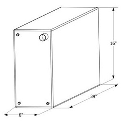 """Picture of ICON  39"""" x 16"""" x 8"""" 20 Gal Fresh Water Tank w/ Fittings 12460 10-1604"""
