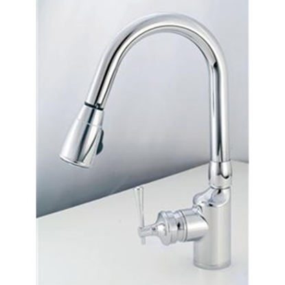 "Picture of American Brass  Chrome w/Single Lever 8"" Kitchen Faucet w/Gooseneck Spout SL2000 10-2302"