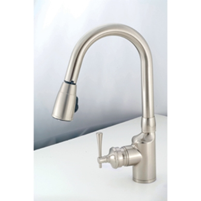 "Picture of American Brass  Nickel w/Single Lever 8"" Kitchen Faucet w/Gooseneck Spout SL2000N 10-2303"