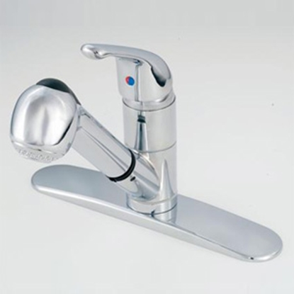 "Picture of American Brass  Chrome w/Single Lever 8"" Kitchen Faucet w/Pull-Out Spout SL1000 10-2305"