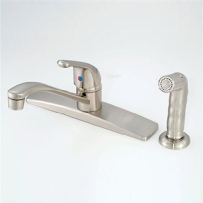 "Picture of American Brass  Nickel w/Single Lever 8"" Kitchen Faucet w/D-Spout SL801FN-4 10-2309"