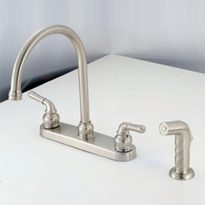 "Picture of American Brass  Nickel w/Teapot Handles 8"" Kitchen Faucet w/Gooseneck Spout NN801GSN 10-2315"