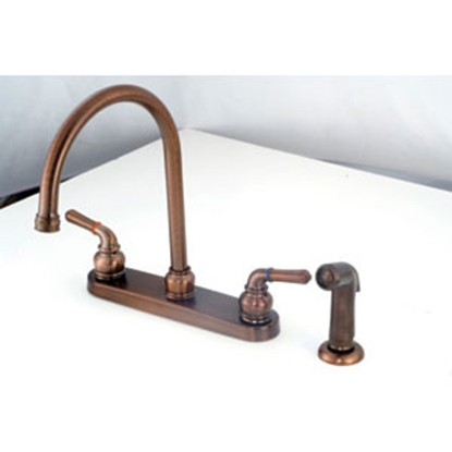 "Picture of American Brass  Bronze w/Teapot Handles 8"" Kitchen Faucet w/Gooseneck Spout OB801GSORB 10-2316"