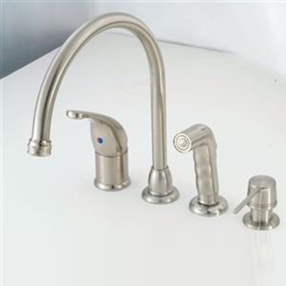 "Picture of American Brass  Nickel w/Single Lever 8"" Kitchen Faucet w/Gooseneck Spout SL801GSNWSD 10-2321"