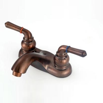 """Picture of American Brass  Bronze w/Teapot Handles 4"""" Lavatory Faucet w/Arc Spout OB77ORB-ARC 10-2328"""