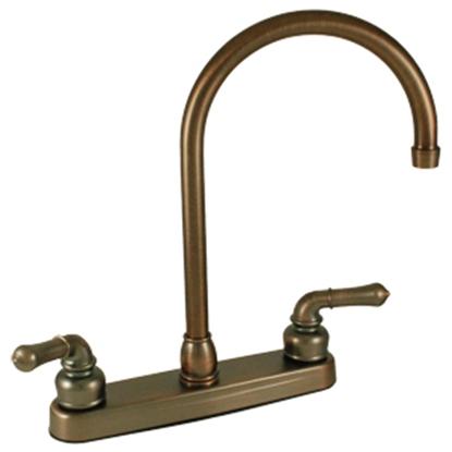 """Picture of Empire Brass Ultra Line Chrome w/Teapot Handles 8"""" Kitchen Faucet w/Gooseneck Spout U-YCH800GS 10-2372"""