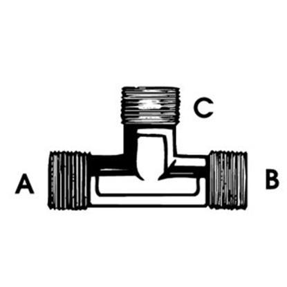 "Picture of QEST Qicktite (R) Unassembled 3/4"" Run x 1/2"" MPT Branch Gray Acetal Fresh Water Tee QT443T 10-3014"