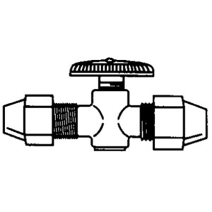 "Picture of QEST Qicktite (R) 3/4"" MPT x 1/2"" MPT Acetal Straight Stop Valve QV421 10-3502"