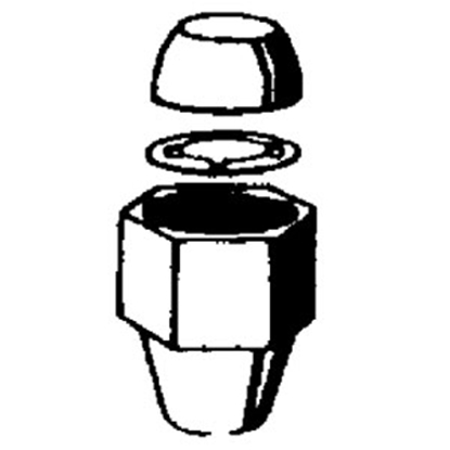 "Picture of QEST Qicktite (R) 1/2"" Nut/Ring/Cone Set for 3/8"" I.D. Tubing QBBFNCR2N 10-4131"