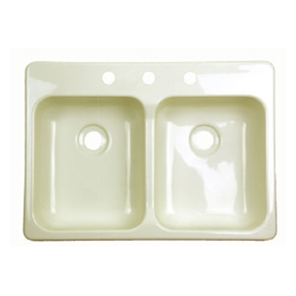 "Picture of Better Bath Better Bath Double Bowl 25"" x 17"" Parchment ABS Kitchen Sink 209401 10-5702"