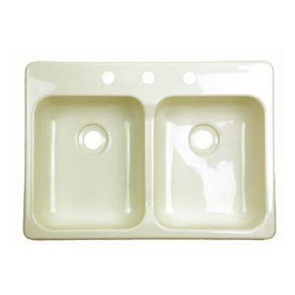 """Picture of Better Bath Better Bath Double Bowl 25""""x19"""" Parchment ABS Kitchen Sink 209404 10-5703"""