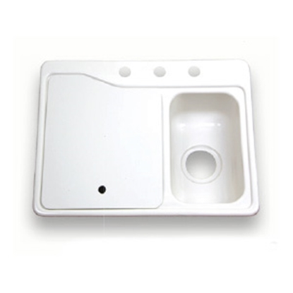 "Picture of Better Bath Better Bath Double Bowl 25"" x 19"" White ABS Kitchen Sink 209694 10-5705"